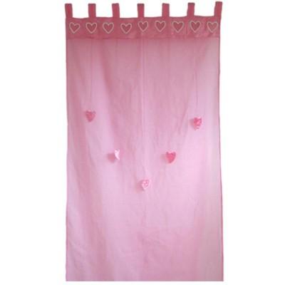 Rideau rose Coeurs suspendus (100 x 280 cm) - Taftan
