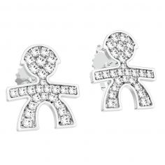 Boucles d'oreilles gar�on (or blanc 750� et pav� de diamants) - LeBeb�