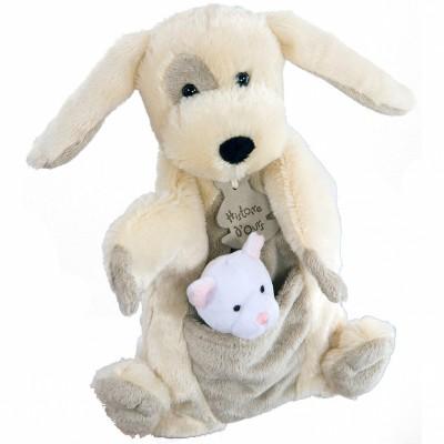 Marionnette chien à main + marionnette à doigt chat