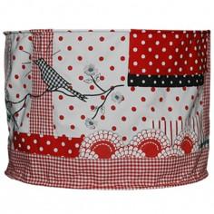 Suspension lampion en tissu Patchwork rouge et noir - Taftan