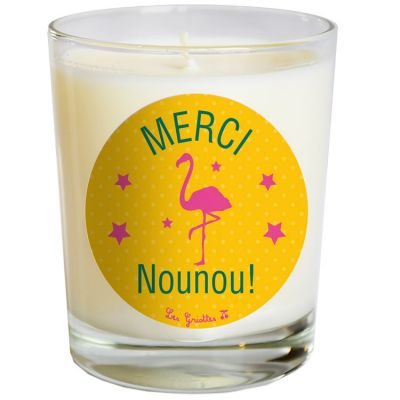 Bougie merci flamant rose jaune personnalisable for Meubles flamant outlet