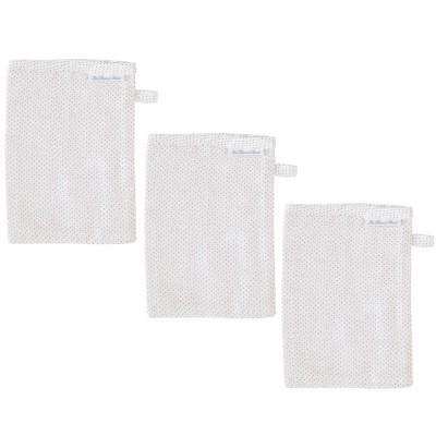 Lot de 3 gants de toilette mousseline dots