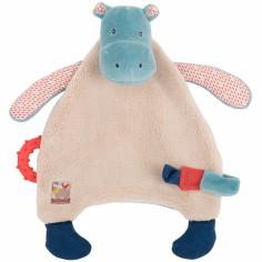 Doudou attache sucette hippopotame Les Papoum - Moulin Roty