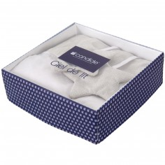 Ciel de lit blanc et beige Mon petit man�ge (136 x 155 cm) - Candide