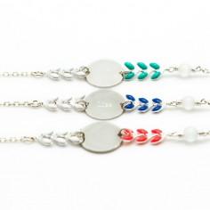 Bracelet cha�ne et �mail Ath�na 3 coloris (argent) - Petits tr�sors