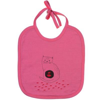 Bavoir à nouer chat rose framboise