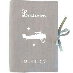 Prot�ge carnet de sant� gris (personnalisable) - Les Griottes