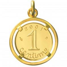 M�daille un Centime Bijout� 2001 recto/verso (or jaune 750�) - Monnaie de Paris