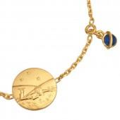 Bracelet m�daille Le Petit Prince couch� dans l'herbe (or jaune 750� et �mail) - La Monnaie de Paris