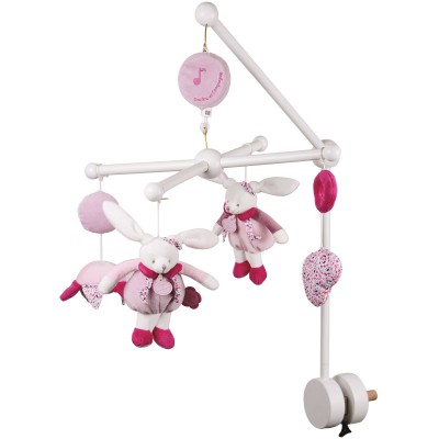 Mobile musical bois cerise rose (40 cm)