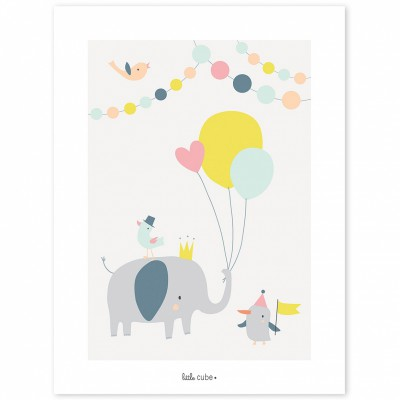 Affiche lphant ballon fille animals party by sarah betz for Meubles flamant outlet