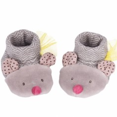 Chaussons souris gris Les Pachats (0-6 mois)  - Moulin Roty
