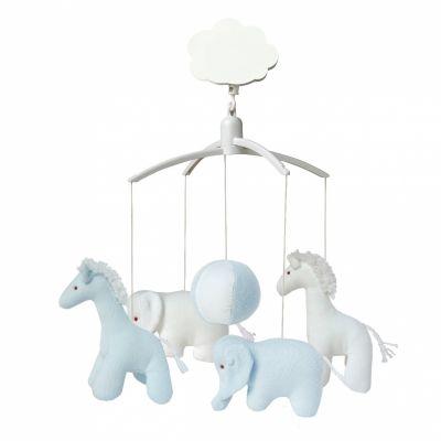 Mobile musical girafe, éléphant bleu et blanc