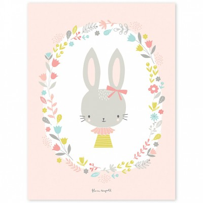 Affiche enfant lapins fille sweet bunnies by flora waycott for Meubles flamant outlet