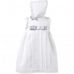 Robe courte de bapt�me blanche noeud gris avec b�guin (6 mois : 68 cm)  - Alves