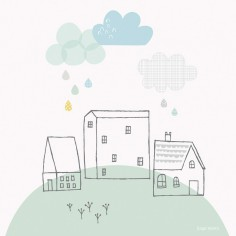 Tableau my green village Smile, it's raining by Carly Gledhill (30 x 30 cm) - Lilipinso