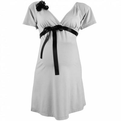 chemise de nuit de grossesse allaitement grise diva cache coeur lingerie chemise de nuit. Black Bedroom Furniture Sets. Home Design Ideas