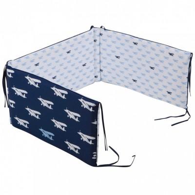 Tour de lit bébé Blue airplane pour lits 60 x 120 et 70 x 140 cm