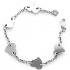 Bracelet Les Evolutifs 13,5 cm 5 petits coeurs 7 mm (or blanc 750�) - Loupidou
