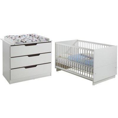pack duo fresh blanc et marron lit b b volutif et commode. Black Bedroom Furniture Sets. Home Design Ideas