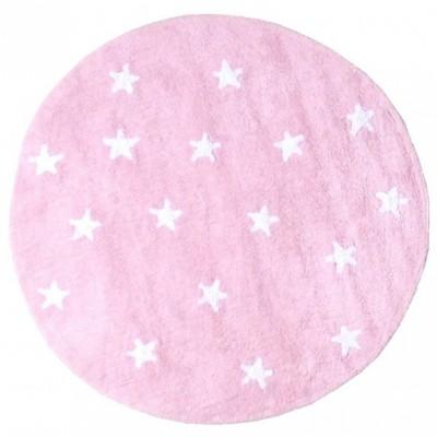 tapis fille souple lavable en machine petites toiles rose diam tre 140 cm lorena canals. Black Bedroom Furniture Sets. Home Design Ideas