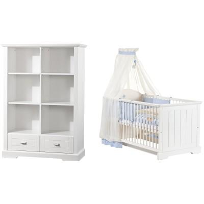 Pack duo cottage lit bébé évolutif et bibliothèque
