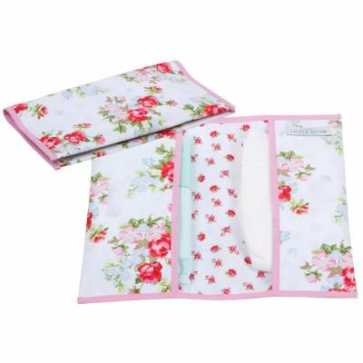 Pochette de change floral rose