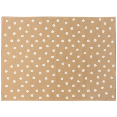 grand tapis pois crme sur fond beige lin 140 x 200 cm. Black Bedroom Furniture Sets. Home Design Ideas