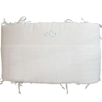tour de lit lin lav blanc oiseaux bleu ciel pour lits 60. Black Bedroom Furniture Sets. Home Design Ideas