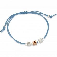 Bracelet cordon turquoise 1 cube gar�on 2 cubes coeur (or rose 375� et argent 925�) - LeBeb�