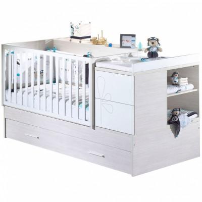 lit bb volutif opale blanc avec son tiroir 70 x 140 cm. Black Bedroom Furniture Sets. Home Design Ideas
