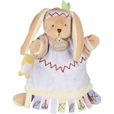 Doudou marionnette étiquette lapin (23 cm)