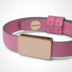 Bracelet cuir Hip-Hop Malabar (or rose 750� et cuir) - Mikado