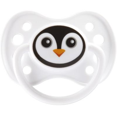 Sucette anatomique en silicone avec anneau masque pingouin (6 mois et +)
