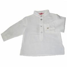 Chemise de bapt�me blanche manches longues (12 mois) - Nice Kids