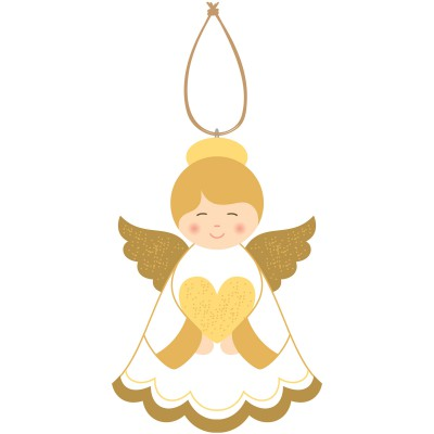 Ange décoratif amour en bois