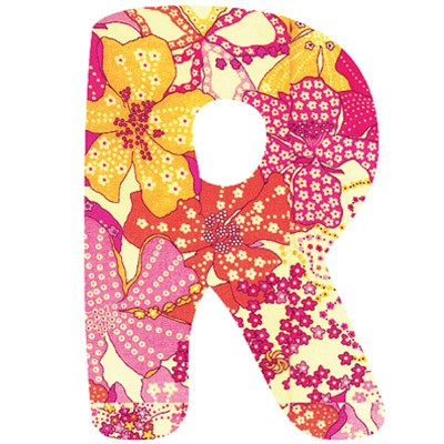 Lettre adhésive r my abc pink by anne cresci