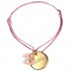 Bracelet cordon Kids cheval (plaqu� or et nacre) - Petits tr�sors