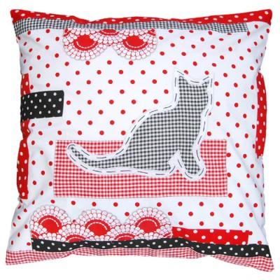 Housse de coussin patchwork chat 50 x 50 cm taftan for Housse de coussin patchwork