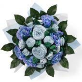 Bouquet de naissance Twins bleu sp�cial jumeaux (14 pi�ces) - Babyblooms