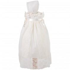 Robe longue de bapt�me �crue � broderies avec b�guin (6 mois : 68 cm)  - Alves