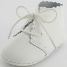 Chaussons de bapt�me mixtes en cuir blanc Chic (3-6 mois) - Mon petit chausson