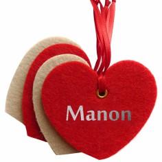 Kit d�coration de No�l en feutrine coeurs beiges et rouges - Les Griottes