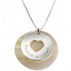 Collier Message du coeur (argent 925� et nacre) - Petits tr�sors