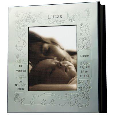 cadre photo album thme naissance personnalisable mtal. Black Bedroom Furniture Sets. Home Design Ideas