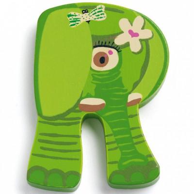 Lettre r en bois elephant achille