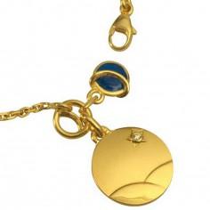 Bracelet Petit Prince dans le d�sert et plan�te bleue (or jaune, diamant et �mail) - Monnaie de Paris
