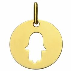 M�daille ronde ajour�e symbole Main de Fatma 16 mm (or jaune 750�) - Premiers Bijoux