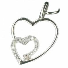 Pendentif Coeurs entrem�l�s et diamants (or blanc 750�) - Berceau magique bijoux