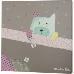 Cadre toile gris Les jolis pas beaux (30 x 30cm) - Moulin Roty
